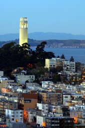 Photo: Coit Tower at dusk, San Francisco
